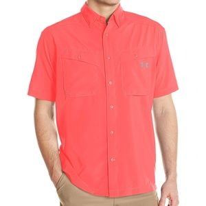 Under Armour Short Sleeve Button Down Shirt Coral